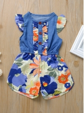 Colorful Print Sleeveless Denim Rompers For Kids