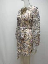 Boutique Sequin Tie-Wrap Cocktail Party Dress