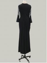 Fishtail Hem Gauze Panel Black Long Evening Dresses
