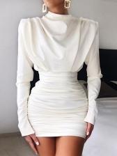 Euro Mock Neck Draped White Bodycon Dress