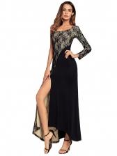 High Split Hem Lace Panel Long Sleeve Evening Gowns