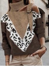 Contrast Color Leopard Print Cold Shoulder Turtleneck Sweater