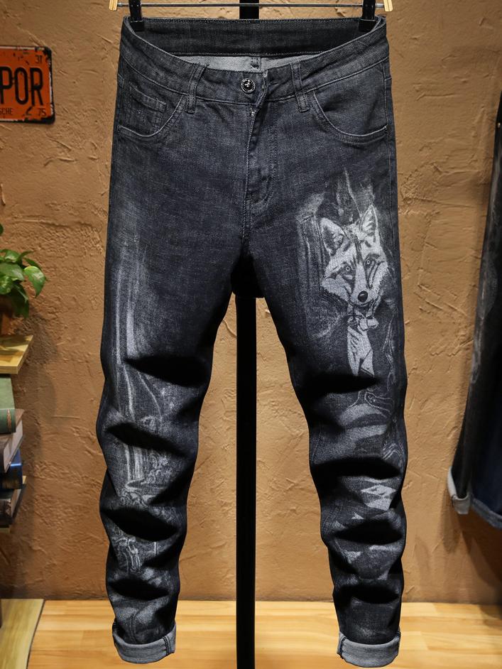 High End Pattern Print Male Black Skinny Jeans