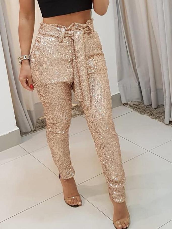 Fashion Tie-Wrap High Waist Sequin Pants