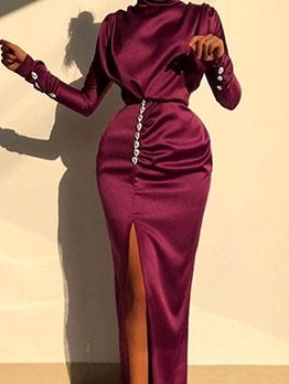 High Neck Split Rhinestone Decor Long Evening Dress