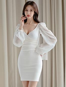V Neck Ruched Solid White Long Sleeve Dress