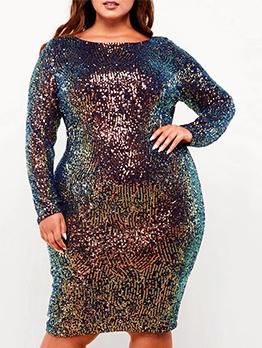 Graduated Color Sequin Plus Size Long Sleeve Dress