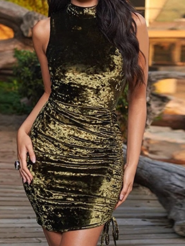 Mock Neck Solid Drawstring Sleeveless Dress
