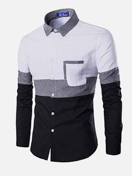 Slim Fit Color Block Button Down Shirt