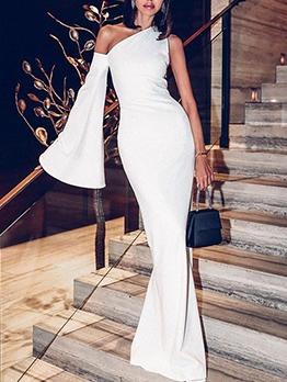 Inclined Shoulder Slim Fit White Formal Dresses