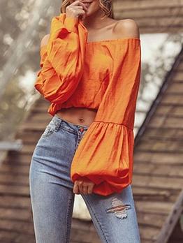 Off Shoulder Lantern Sleeve Orange Cropped T Shirt
