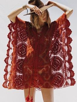V Neck Lace Three-Quarter Sleeve Cover Ups