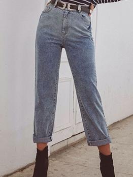 Versatile High Waist Straight Blue Jeans For Women
