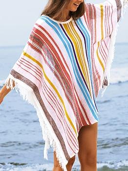 Multicolored Striped Tassel Cover Ups