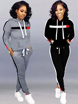 Hot Sale Contrast Color Hoodie Two Piece Pants Set