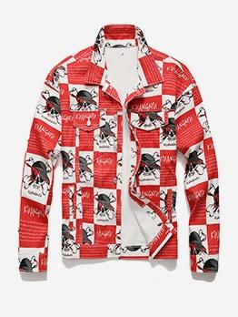 Leisure Loose Contrast Color Pattern Denim Jacket