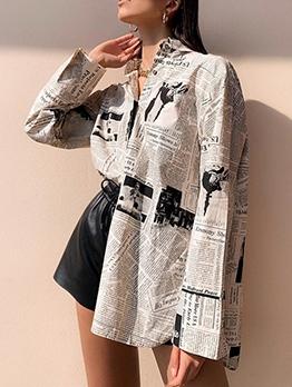Newspaper Printed Long Sleeve Fashion Blouse