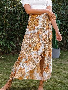 Asymmetrical Flounce Hem Bohemian Print Maxi Skirt