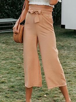 Lace-Up Pure Color Casual Wide Leg Pants