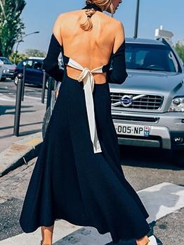 Backless Tied Black Long Sleeve Maxi Dress