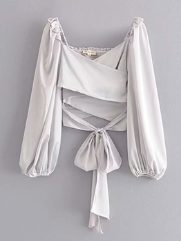 V Neck Stringy Selvedge Tie-Wrap Crop Blouse