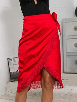 Red Tassel Hem Midi Wrap Skirt