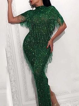 Stand Neck Short Sleeve Tassel Green Evening Dress