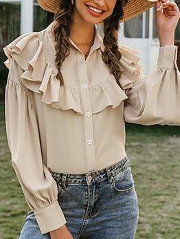 Long Sleeve Khaki Ruffled Blouse