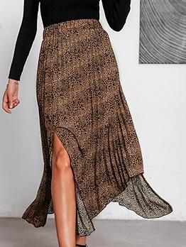 Irregular Split Midi Leopard Print Skirt