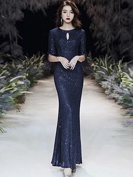 Elegant Fishtail Hem Glitter Formal Evening Gowns