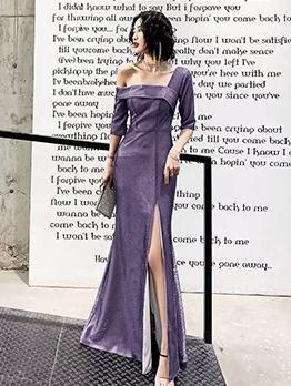 Off Shoulder Split Hem Fitted Long Evening Dress