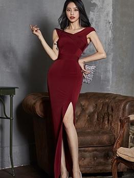 Korean V Neck Split Hem Burgundy Evening Dress