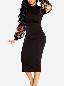 Embroidery Puff Sleeve Black Mini Dress