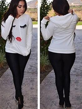 Cartoon Print Long Sleeve Hooded T Shirt