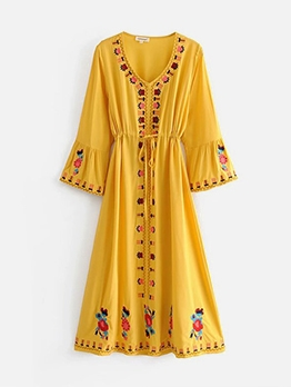 Vintage Embroidery Tie-Wrap Maxi Dress For Vacation