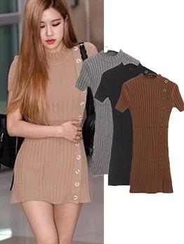 Mock Neck Short Sleeve Knit Dress For Women