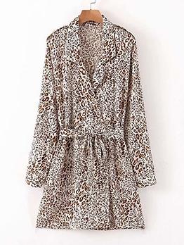 Lapel Collar Leopard Long Sleeve Blazer Dress