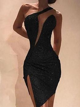 Irregular Split Sleeveless Sequin Dress