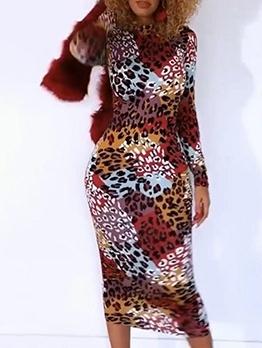 Trendy Color Block Leopard Print Skinny Midi Dress