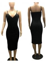 Beading Decor V Neck Sleeveless Velvet Dress