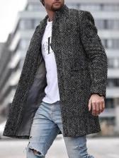Warm Pure Color Long Sleeve Mens Coats