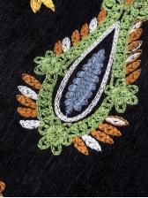 Retro Embroidery Black Corduroy Skirt