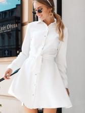 Turndown Neck Solid Tie-Wrap Long Sleeve Shirt Dress