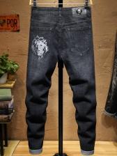 Fashion Skull Printing Mid-Waisted Skinny Jeans