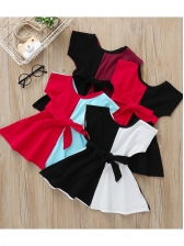 Contrast Color Tie-Wrap Short Sleeve Dress For Girls