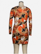 V Neck Twisted Print Long Sleeve Dress