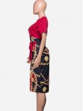 Trendy Chain Print Midi Short Sleeve Summer Dresses