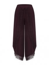 Lace Edge Low Waist Plus Size Wide Leg Pants