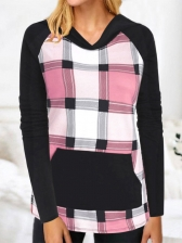 Color Block Plaid Hooded T Shirts For Women