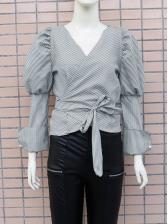 Bow Hem Cropped Striped Blouse